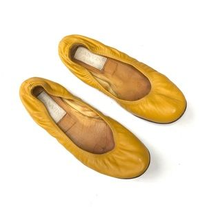Lanvin Scrunched Leather Ballerina Flat Yellow